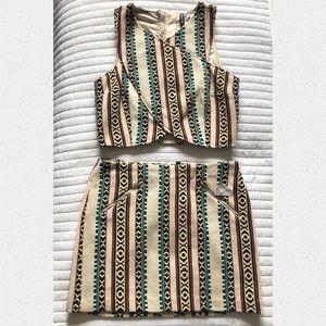 Brand New 2 Piece Crop Top & Miniskirt Set